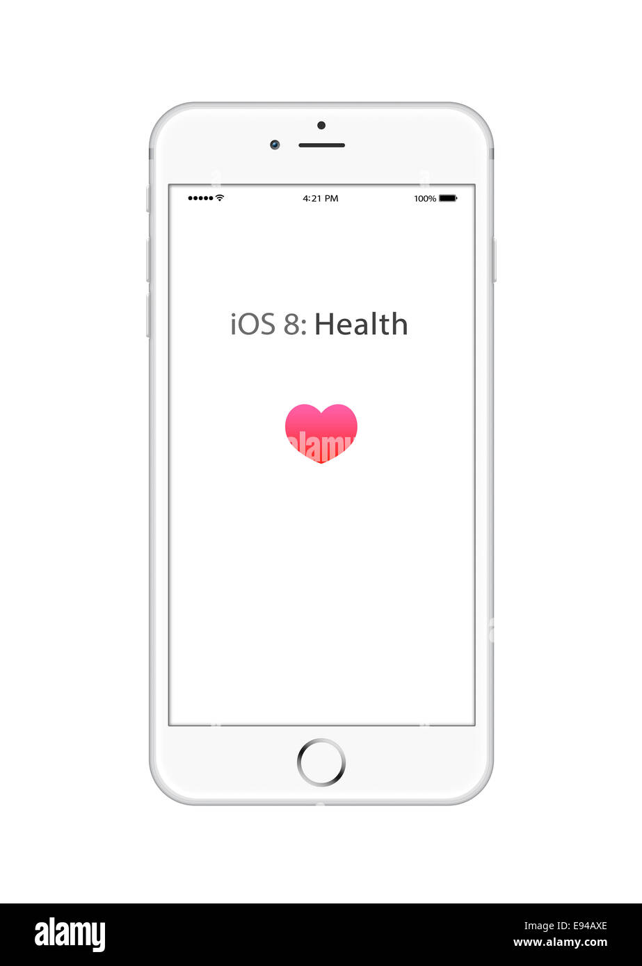 Iphone 6 silver with ios 8 health app screen, digitally generated artwork. - Stock Image