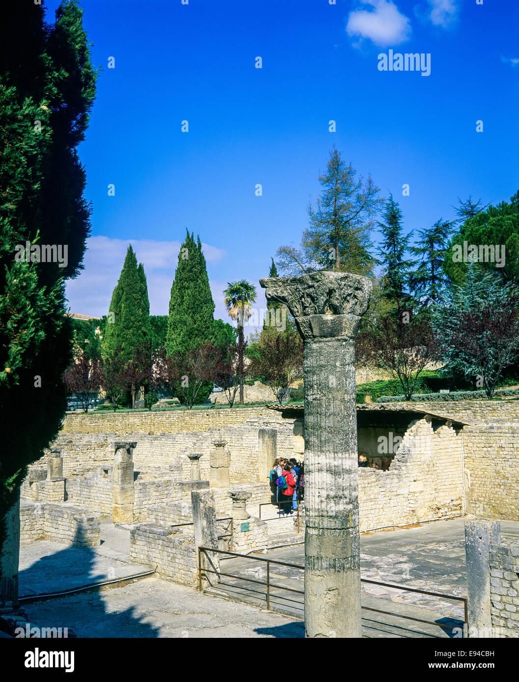 House of the Messii Puymin quarter Roman ruins Vaison-la-Romaine Provence France - Stock Image
