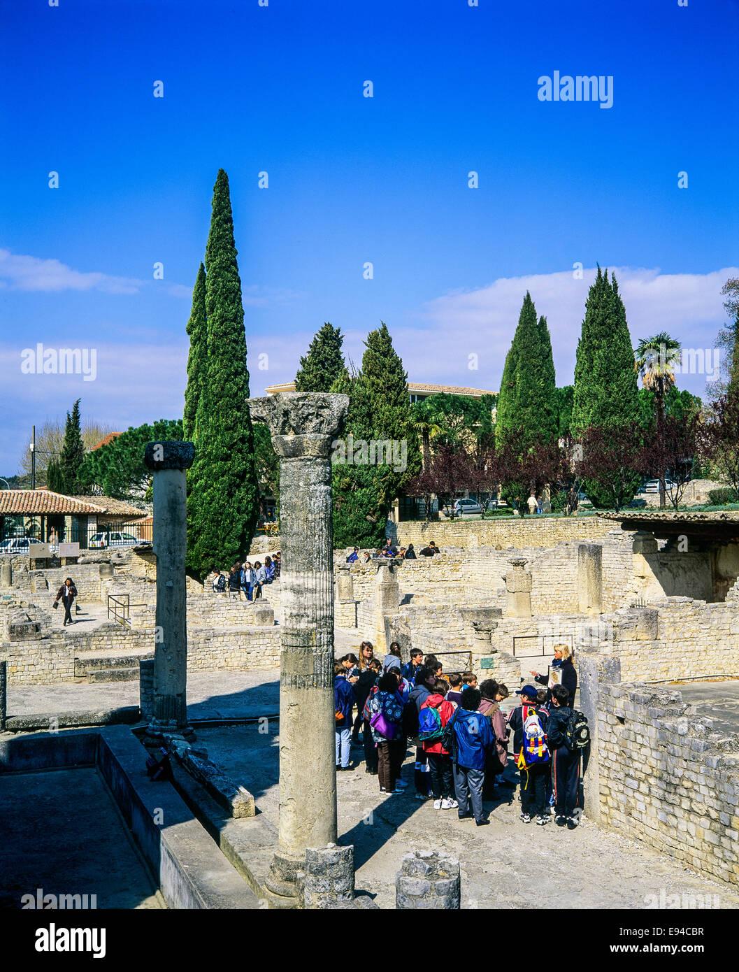 House of the Messii Puymin quarter Roman ruins Vaison-la-Romaine Provence France Europe - Stock Image