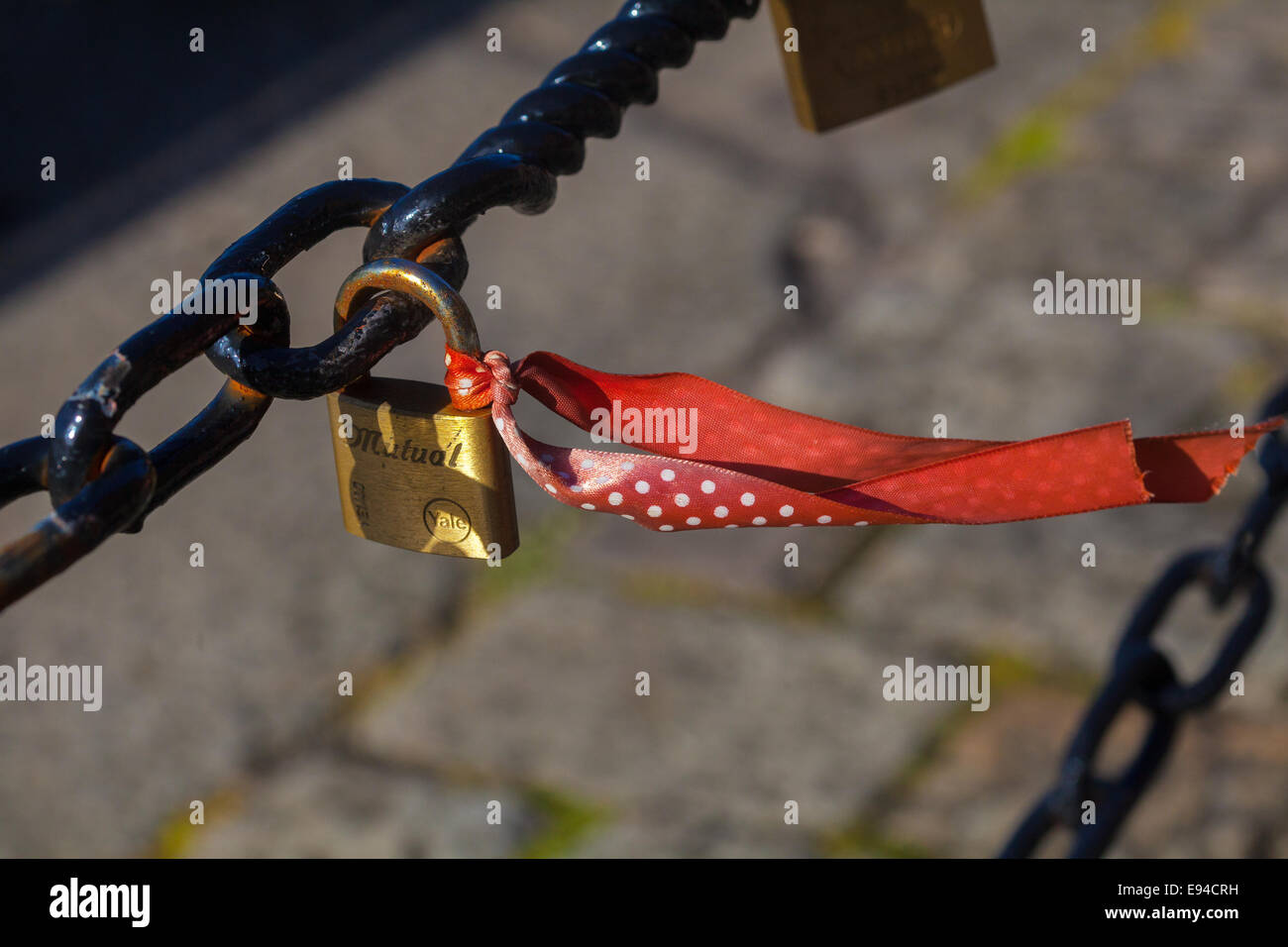 Liverpool, Merseyside, UK. 19th Oct, 2014. The future of hundreds of sentimental love locks at Liverpool's Albert - Stock Image
