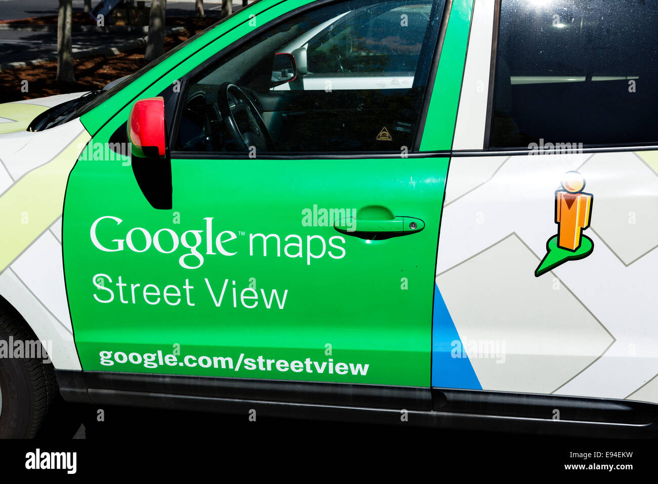Google Street View car at the Google Head Office Campus, Mountain View, Californias, USA - Stock Image