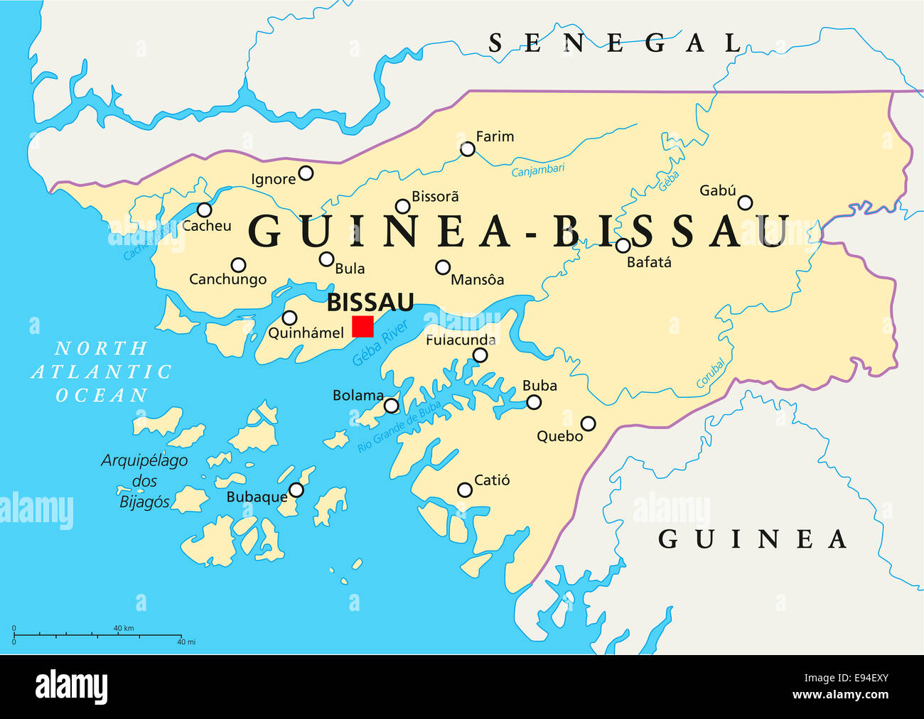 GuineaBissau Political Map with capital Bissau national borders