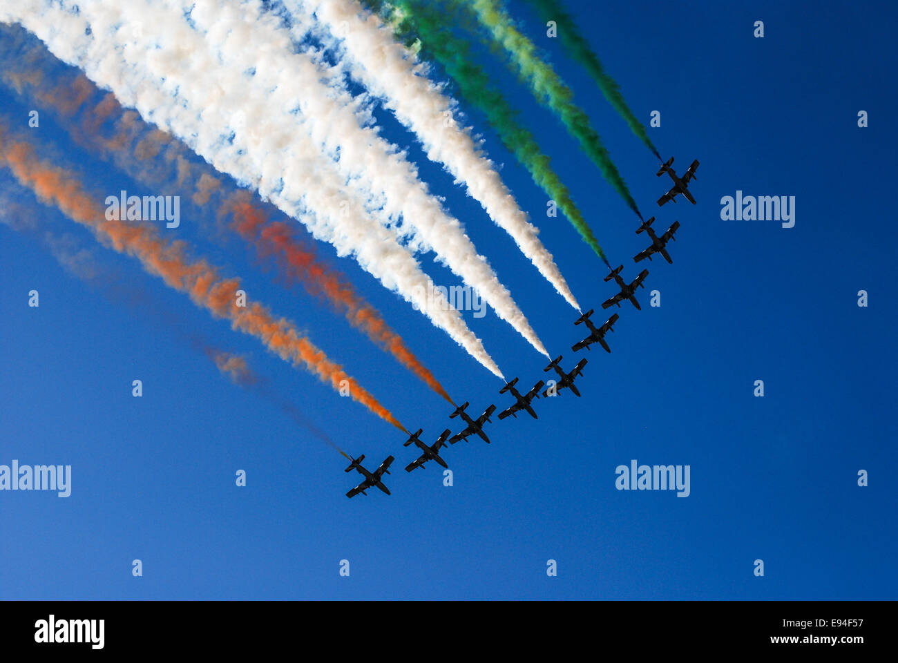 View of Italian military airplane called frecce tricolore - Stock Image