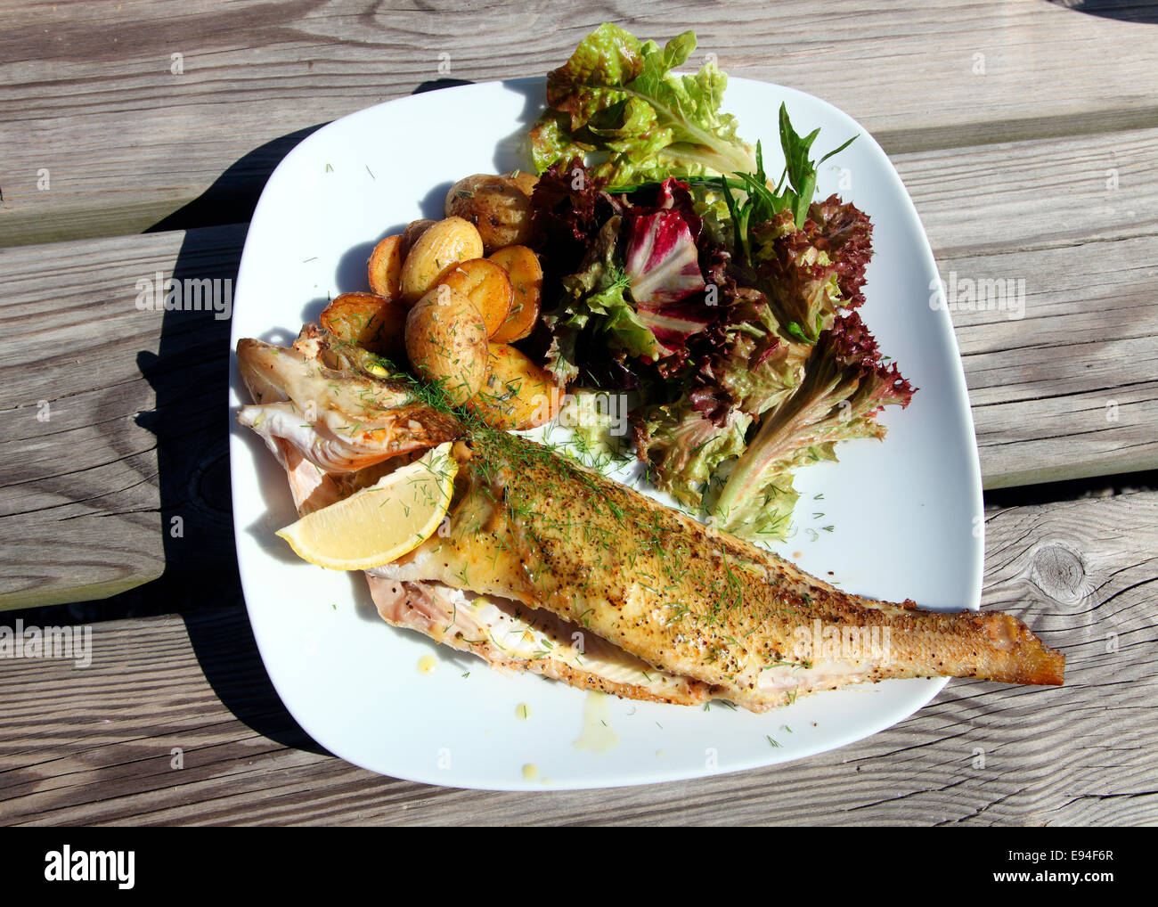 Rugen Island Baltic fish lunch - Stock Image