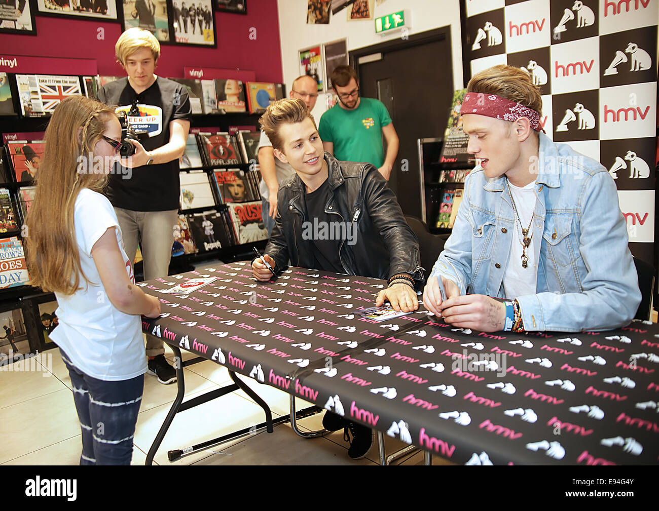 Tristan and james of the vamps meet fans and sign copies of their cd tristan and james of the vamps meet fans and sign copies of their cd meet the vamps at manchester hmv featuring james mcveytristan evansthe vamps m4hsunfo