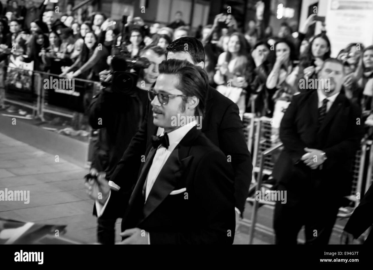 Brad Pitt in London film premiere Fury. - Stock Image