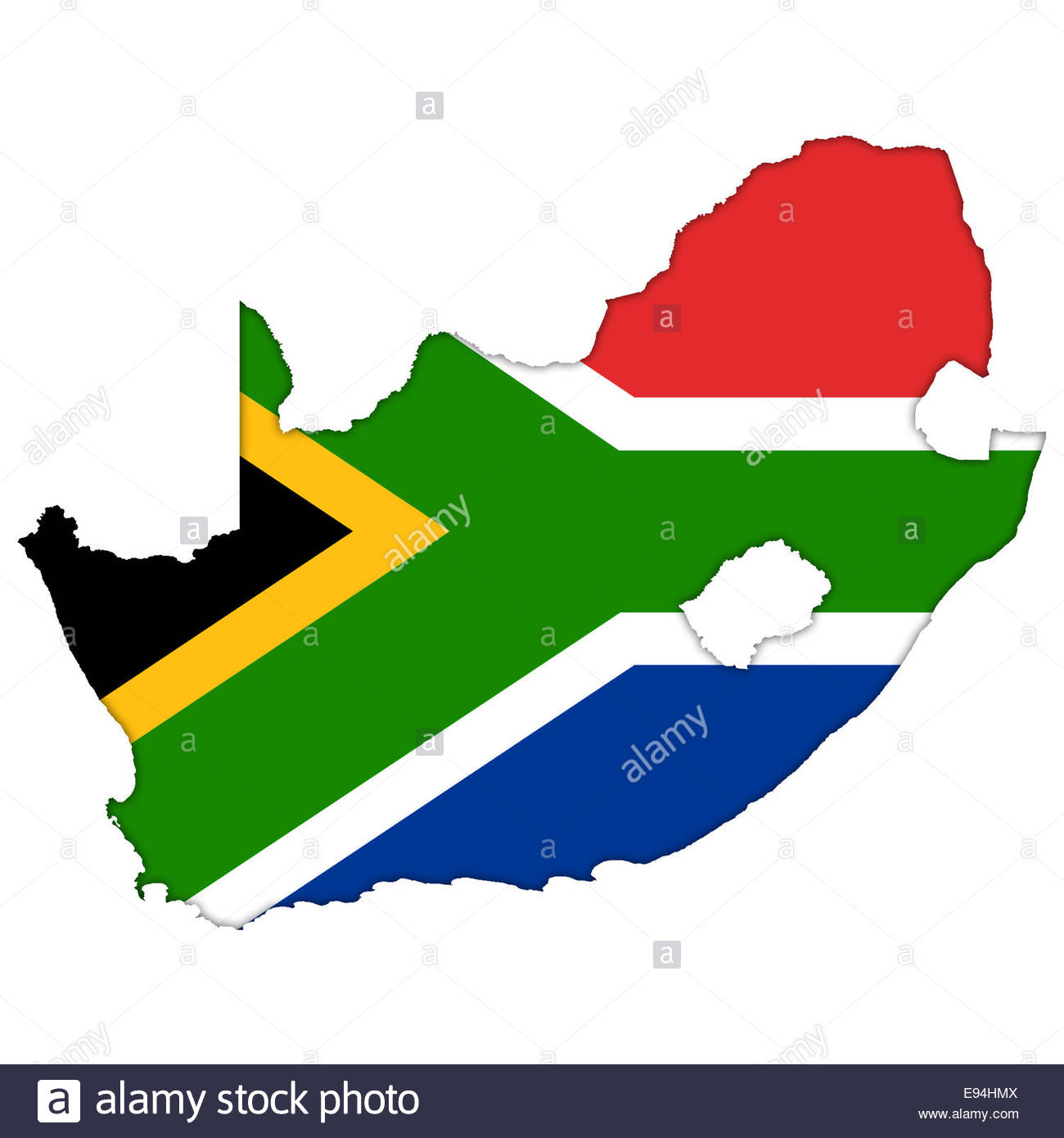 South Africa flag icon logo map - Stock Image