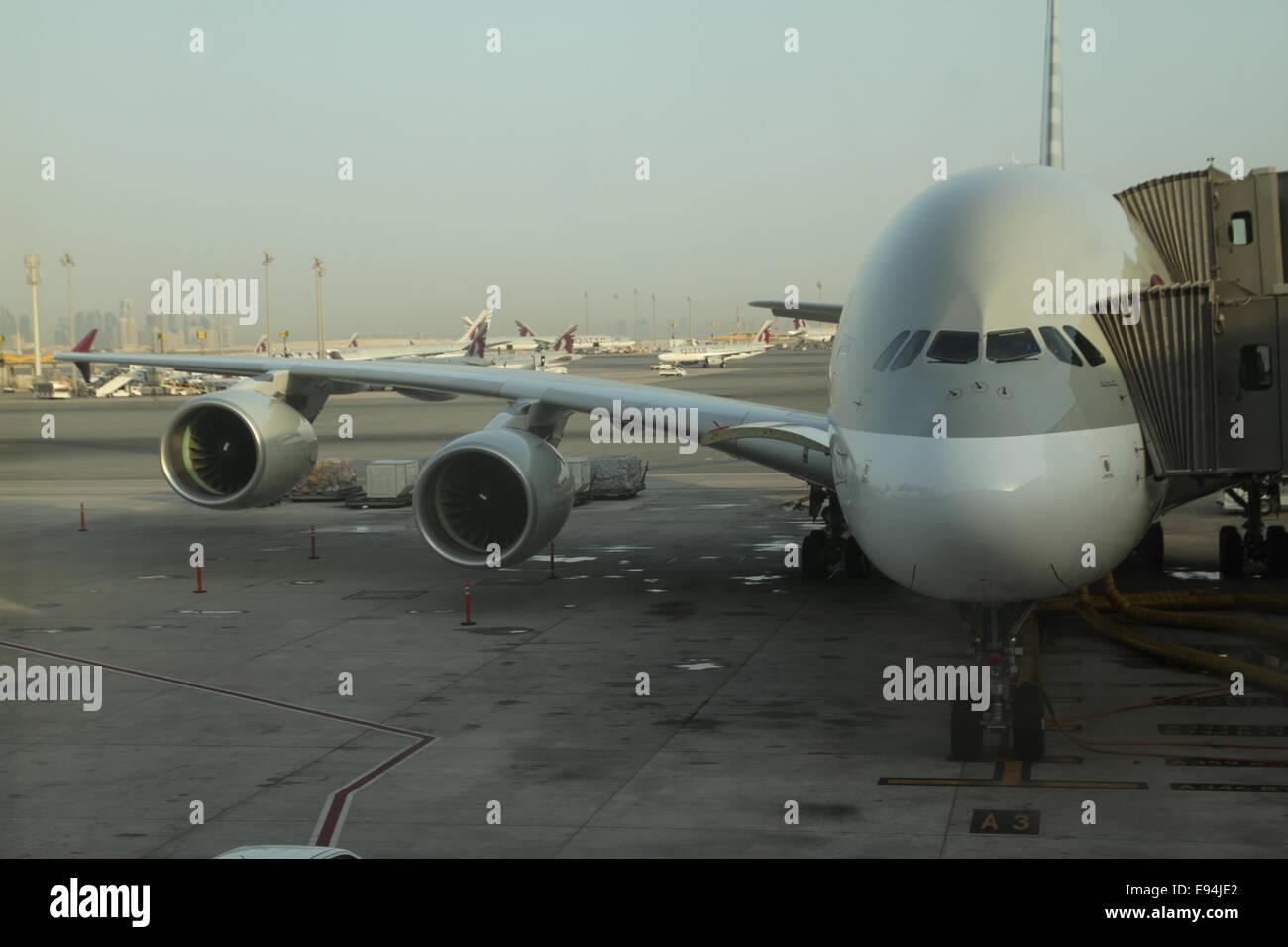 Doha, Qatar - 19 October 2014. A A380 jetliner docked at Hamad International Airport, Doha. Qatar Airways inaugurated - Stock Image
