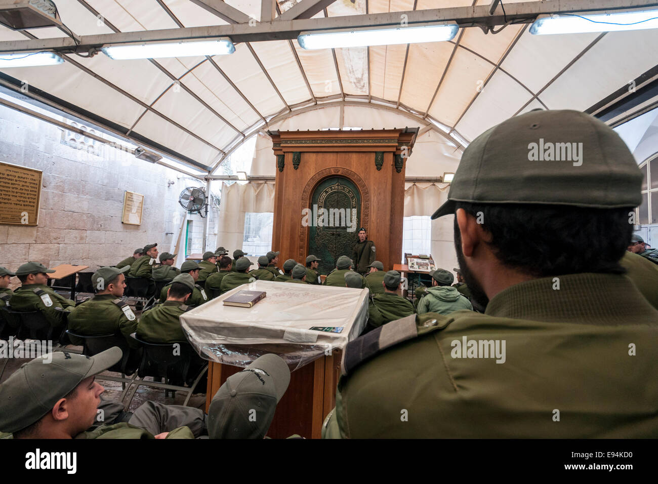 Hebron, Israel/West Bank. Israeli border policemen at a religious class in the n the Cave of the Patriarchs (Machpela - Stock Image