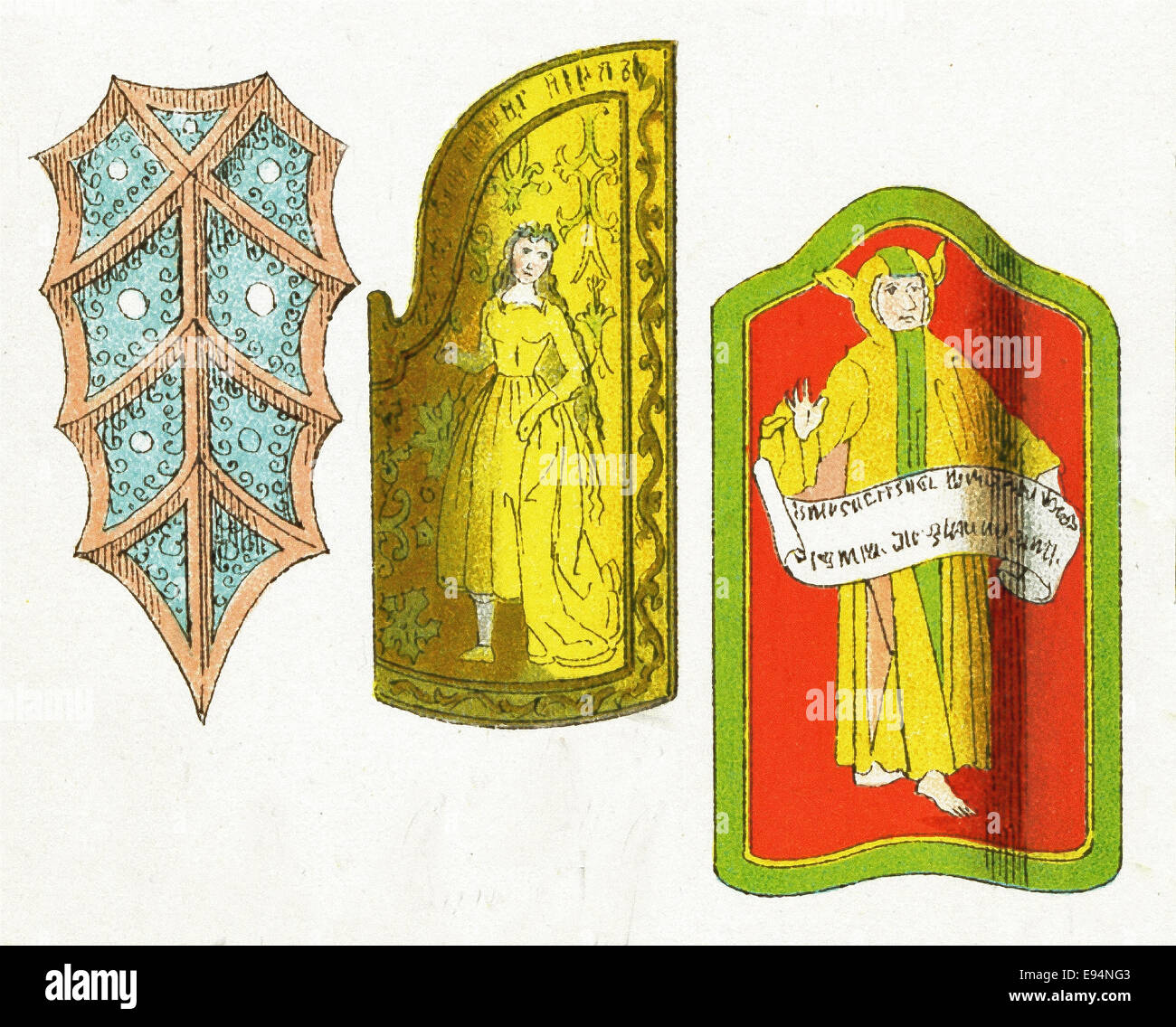 The medieval weapons from around A.D. 1400 represented here are three shields. The illustration dates to 1882. - Stock Image