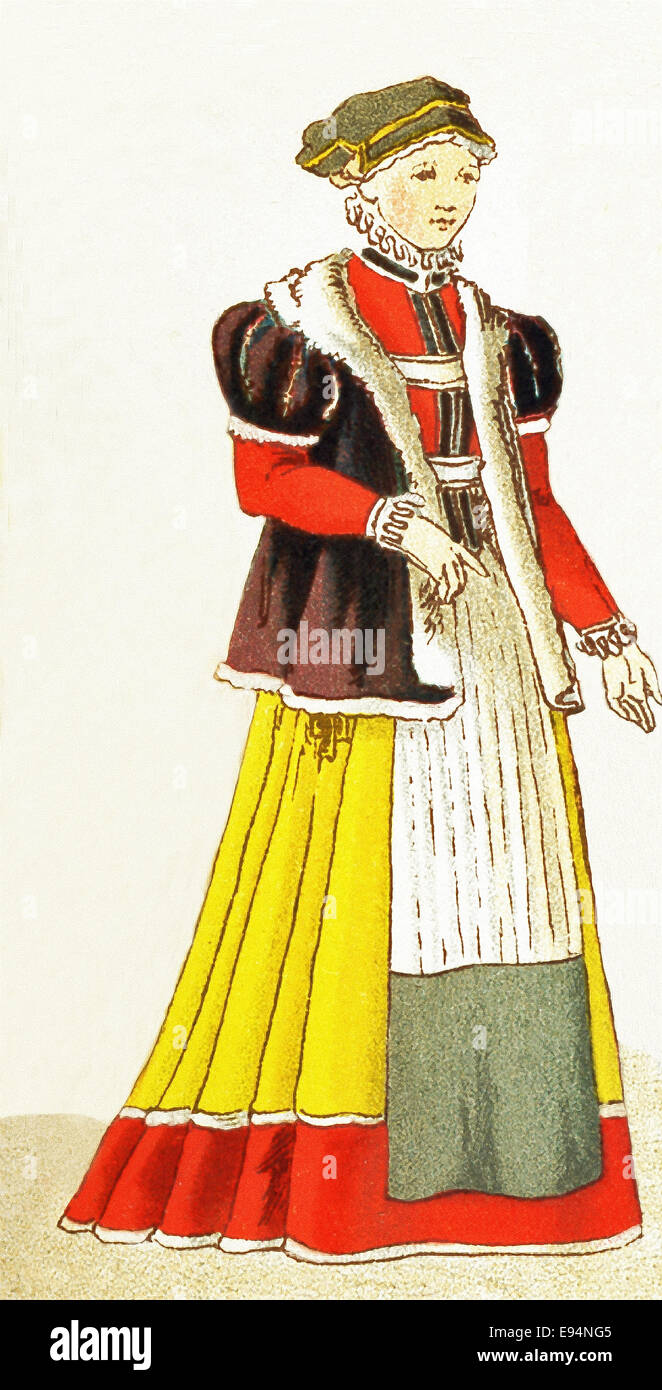 The German  figure represented here is a woman from Nuremberg, between 1550 an 1600. The illustration dates to 1882. - Stock Image