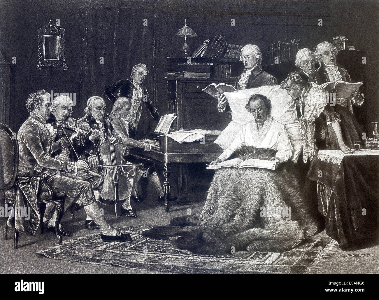 This illustration of the Austrian composer and pianist Wolfgang Amadeus Mozart singing his requiem was done by American - Stock Image