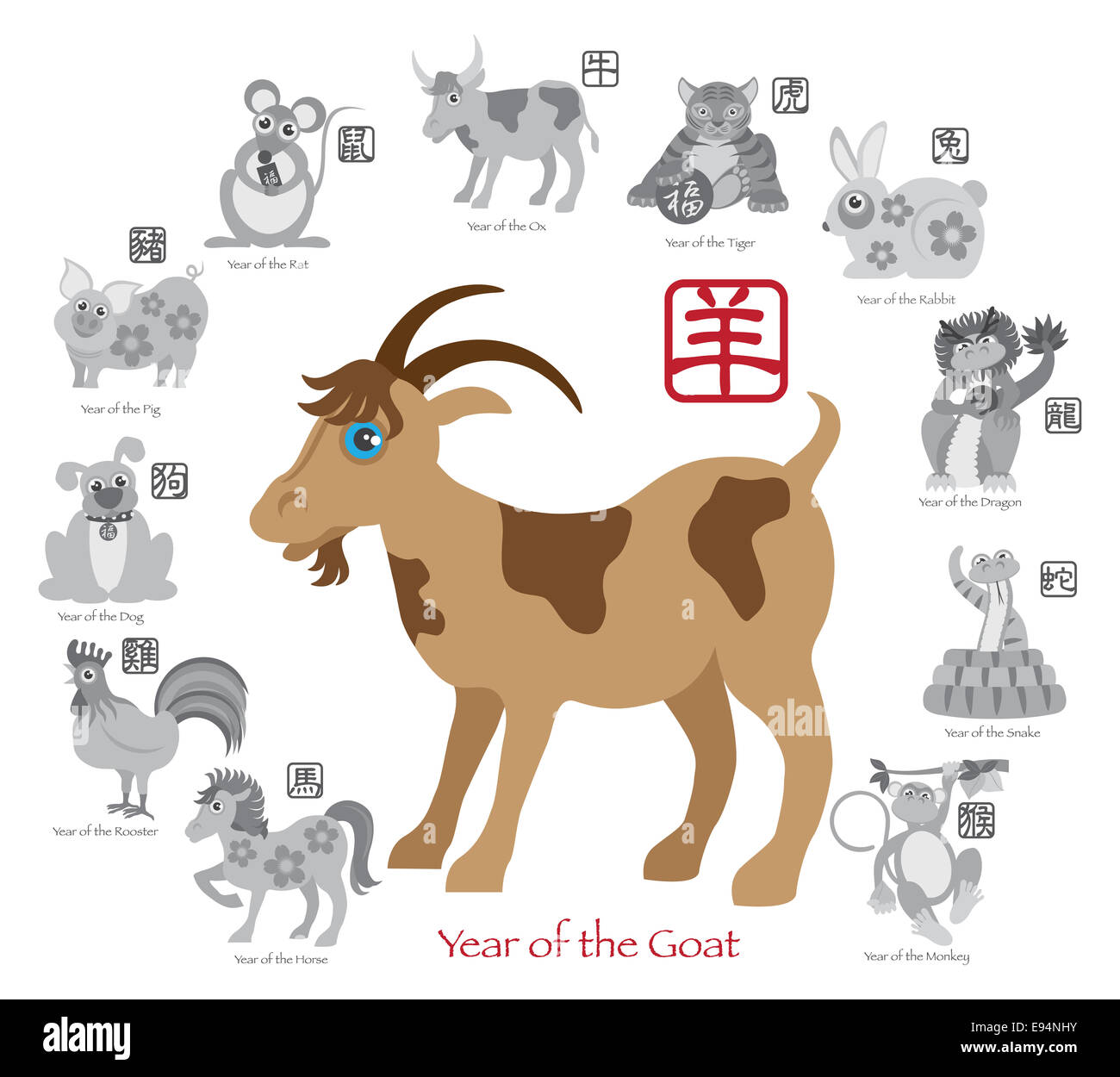 Chinese New Year of the Goat in Color with Twelve Zodiacs with Chinese Text Seal in Circle Grayscale Illustration - Stock Image