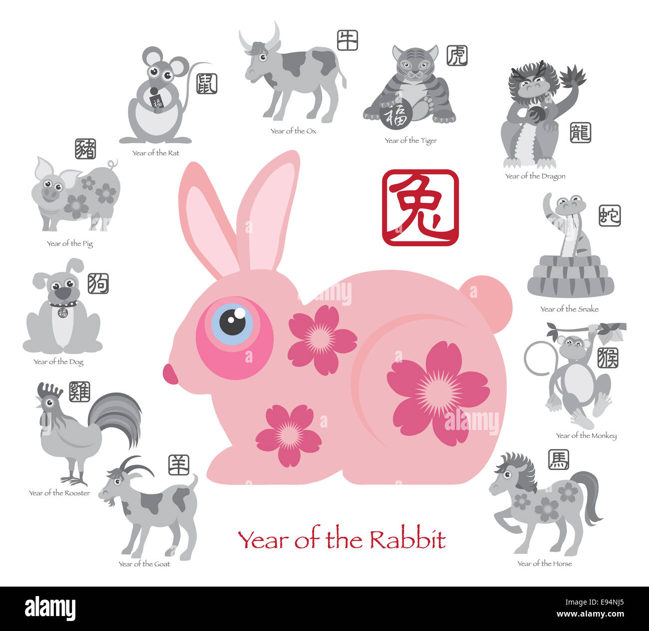 Chinese New Year Of The Rabbit Color With Twelve Zodiacs With