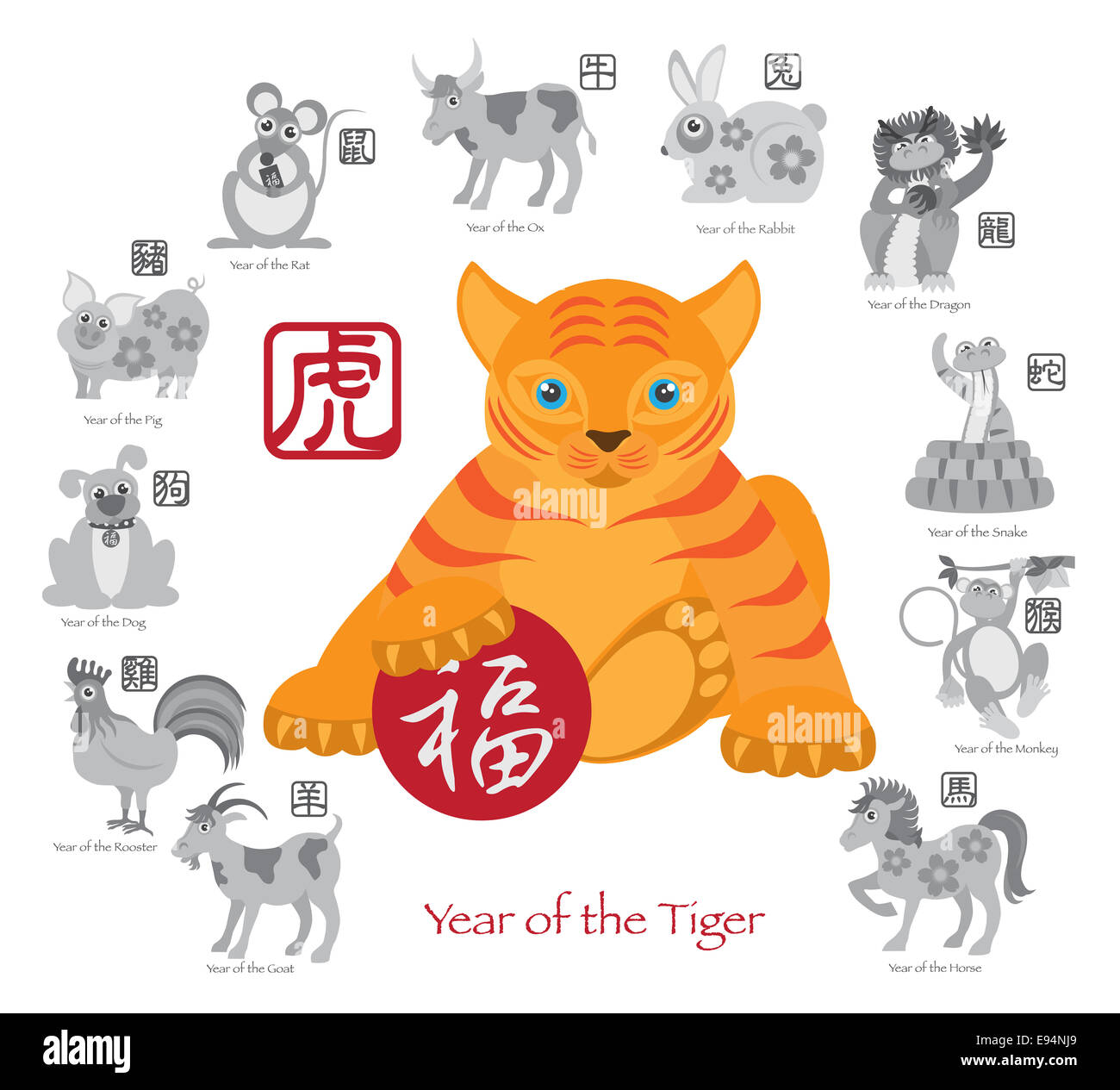 Chinese New Year of the Tiger Color with Twelve Zodiacs with Chinese Text Seal in Circle Grayscale Illustration - Stock Image