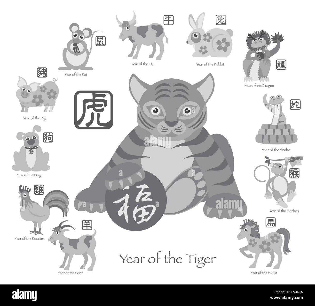 Chinese New Year of the Tiger with Twelve Zodiacs with Chinese Text Seal in Circle Grayscale Illustration - Stock Image