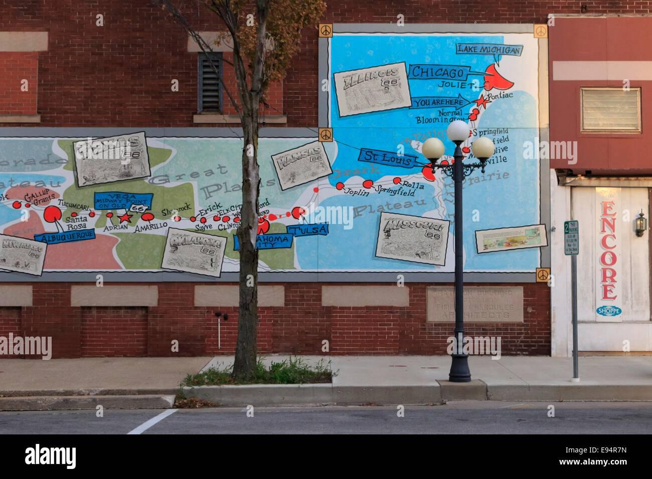 Mural Map Of Route 66 Pontiac Illinois Stock Photo 74479433 Alamy