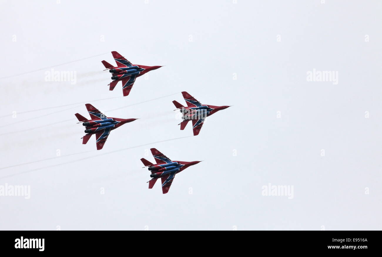 Aerobatic team 'Swifts' on the MiG-29 - Stock Image