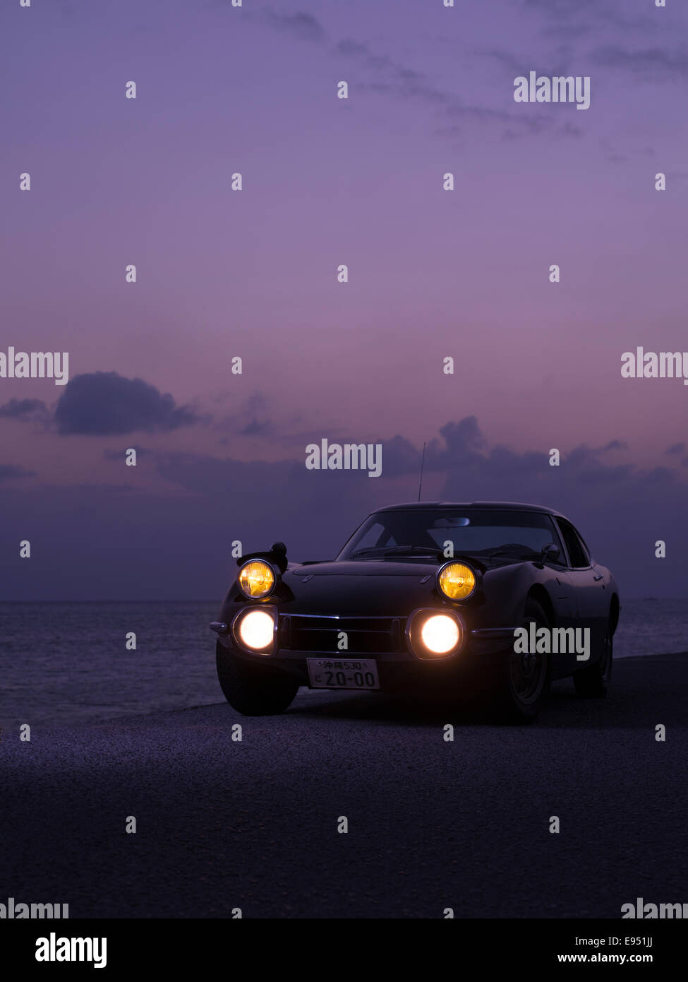 Rhd Toyota 2000gt Sports Car At Sunset In Okinawa Japan Extremely