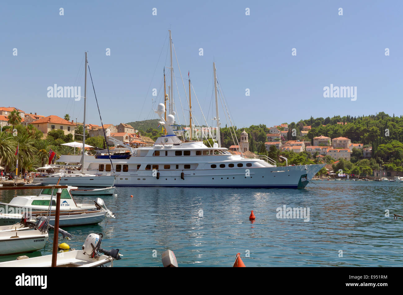 Yacht at Cavtat town near Dubrovnik, south Croatia. A 'Port of Entry' for private yachts entering or leaving Croatia. Stock Photo