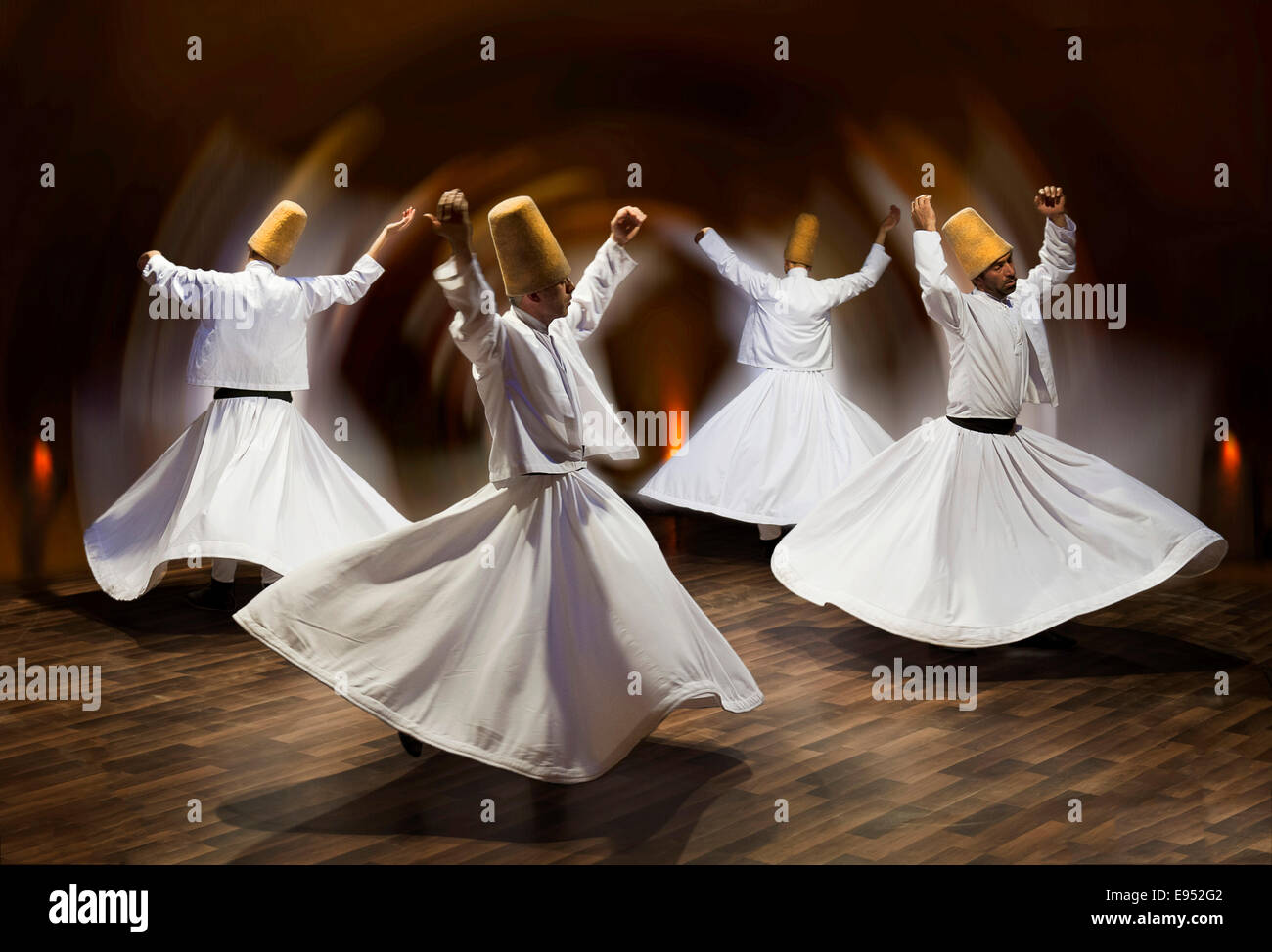 Whirling dervishes, show, Cappadocia, Turkey - Stock Image