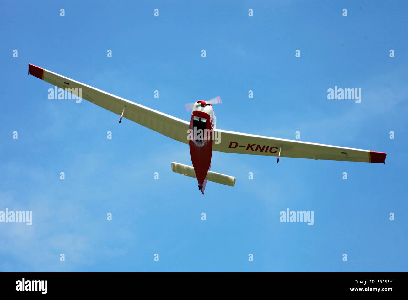 Motor glider Scheibe SF-25C 'Falcon' from underneath - Stock Image