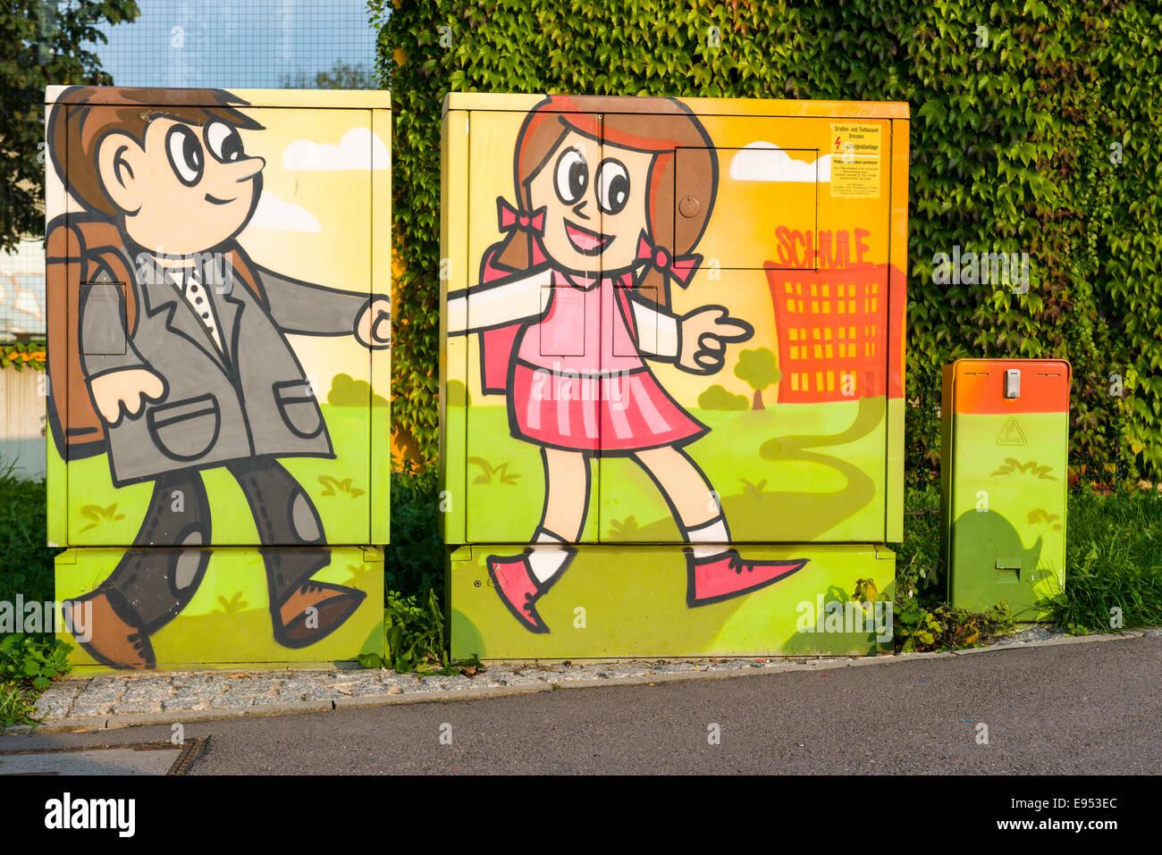 Graffiti, schoolchildren, Dresden, Saxony, Germany - Stock Image