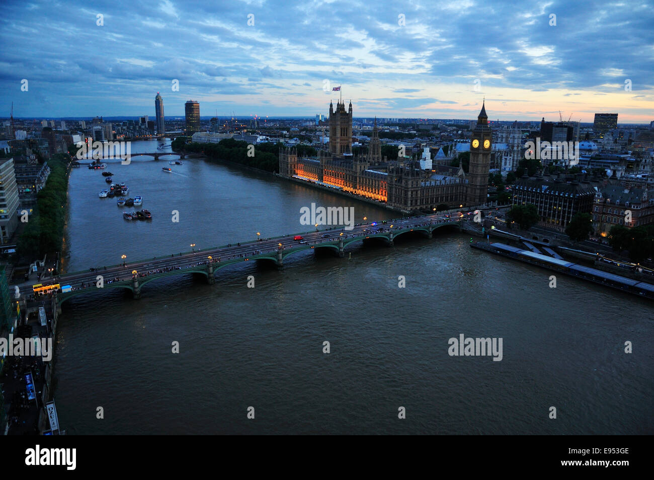 View from the London Eye on Westminster Bridge, Houses of Parliament, and Elizabeth Tower clock tower, London, England - Stock Image