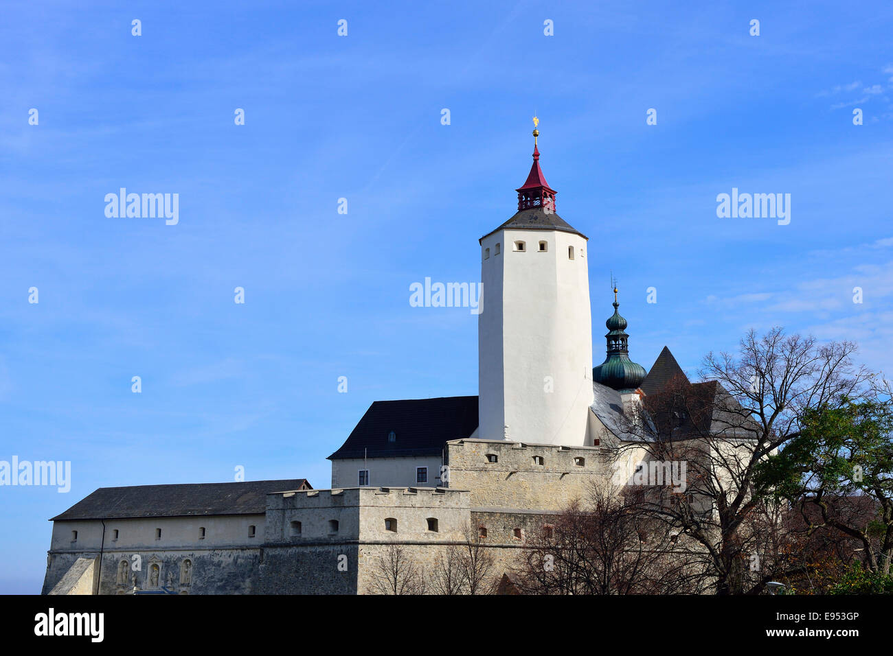 Forchtenstein Castle with its prominent castle keep, Forchenstein, Burgenland, Austria - Stock Image