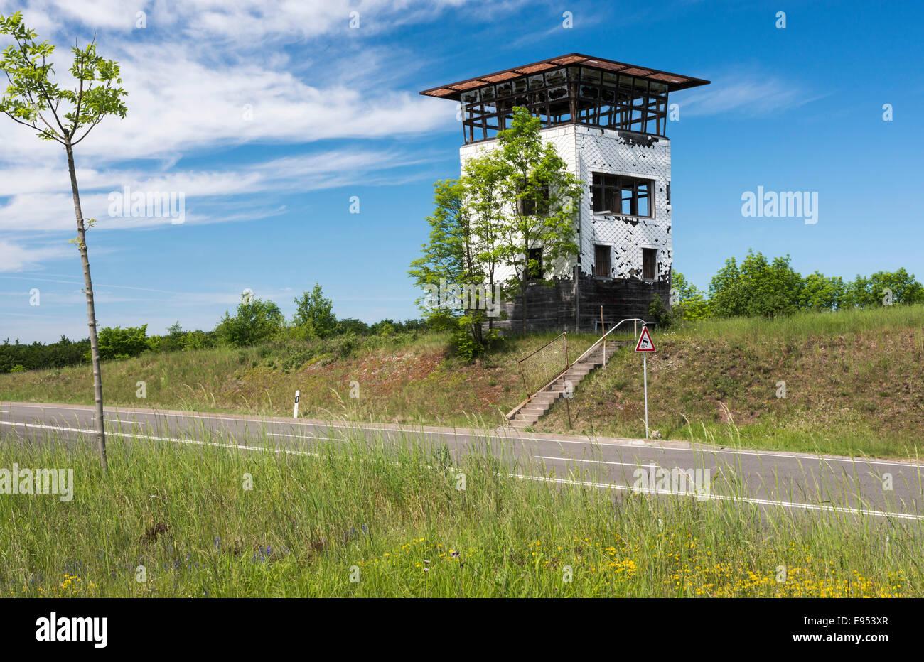 Old border tower on country raod, street L3019, former border crossing point Eußenhausen-Henneberg 1973 to - Stock Image