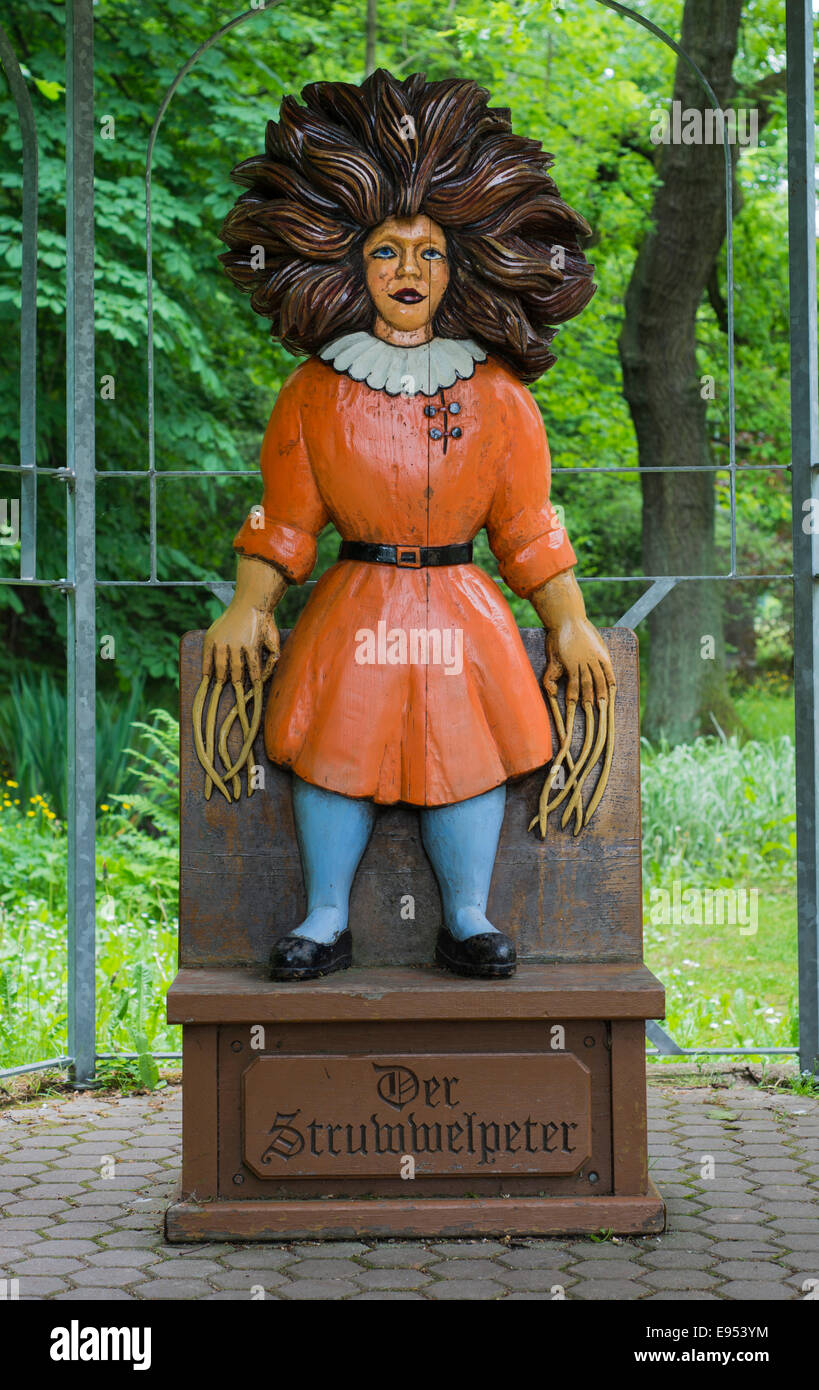 Title character from the 'Struwwelpeter' children's book by Heinrich Hoffmann, carved in wood by Guenther - Stock Image