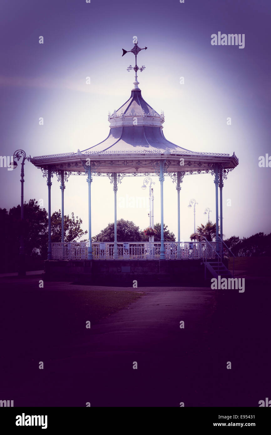 Empty bandstand on The Leas at Folkestone. - Stock Image