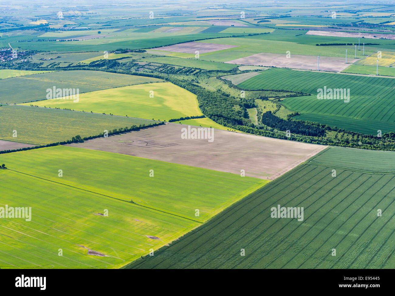 Aerial view, Thuringian Basin, flat landscape with fields, crossed by the River Unstrut, Doellstaedt, Thuringia, - Stock Image
