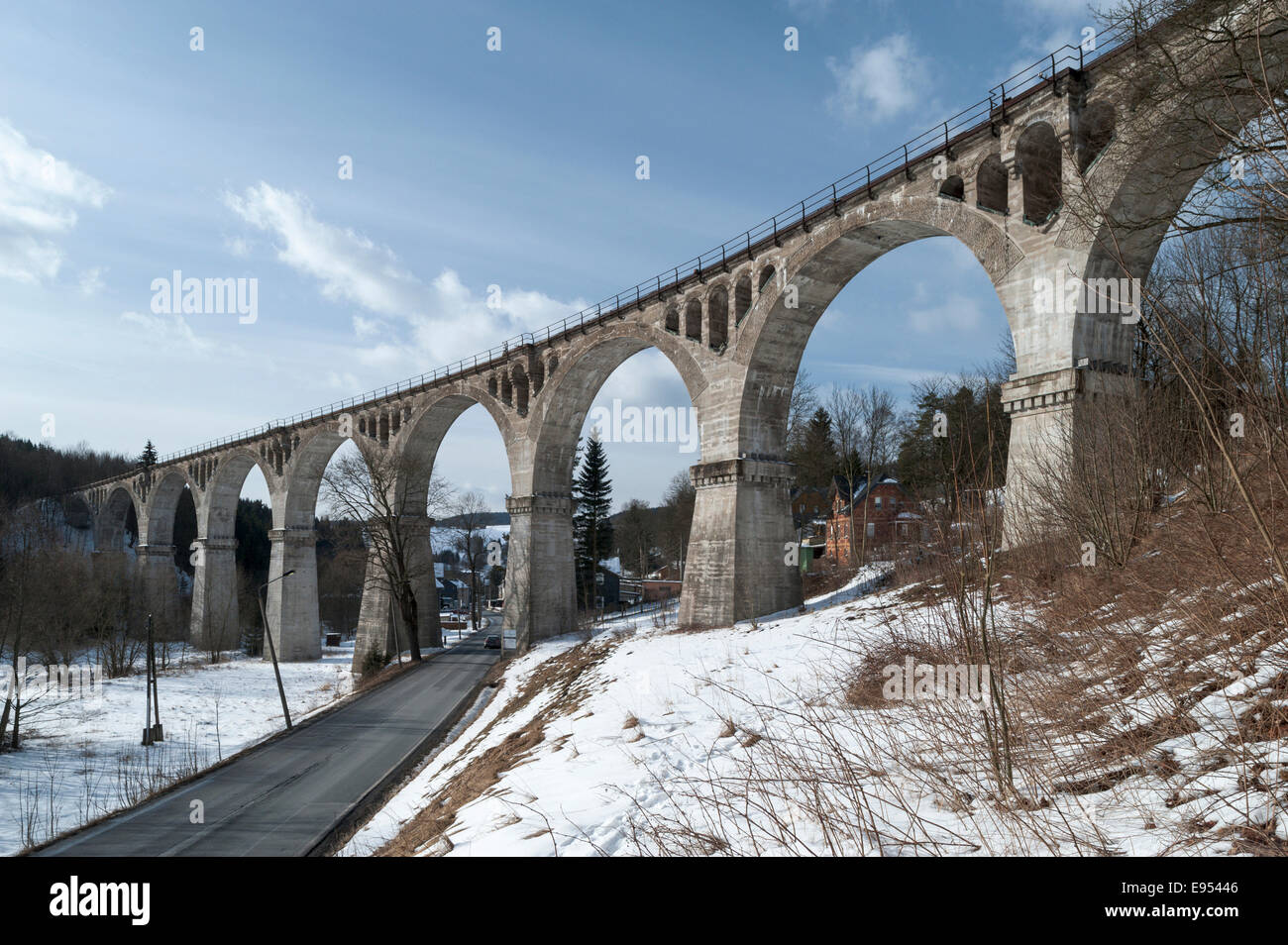 Railway viaduct, Hammerwiesen, Federal Road 281, Lichte, Thuringia, Germany - Stock Image