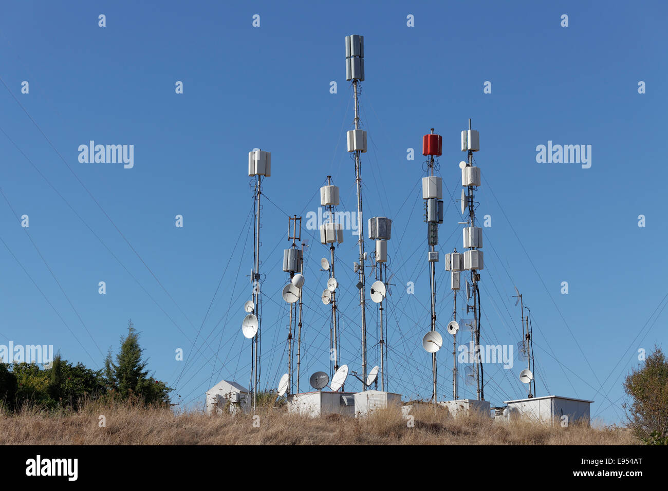 Transmitter masts for mobile telephone communication on Monte Smith, Rhodes, Dodecanese, Greece - Stock Image