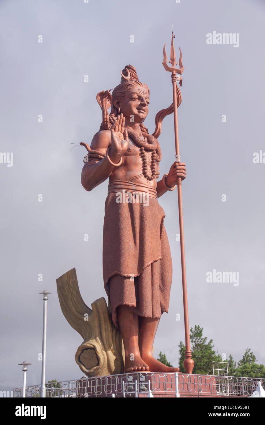 Statue of Lord Shiva, a Hindu deity, Grand Bassin, Mauritius - Stock Image