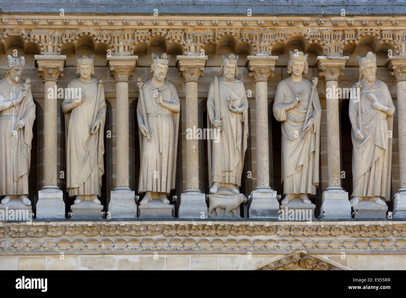 Statues over the main portal, Notre Dame de Paris cathedral, Paris, Ile-de-France, France Stock Photo