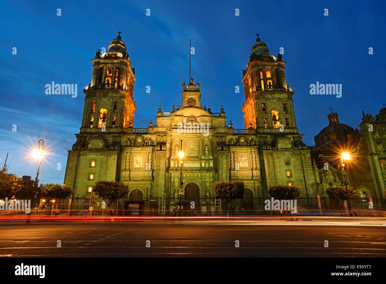 Mexico City Metropolitan Cathedral, Catedral Metropolitana de la Asuncion de Maria, Plaza de la Constitucion, and - Stock Image