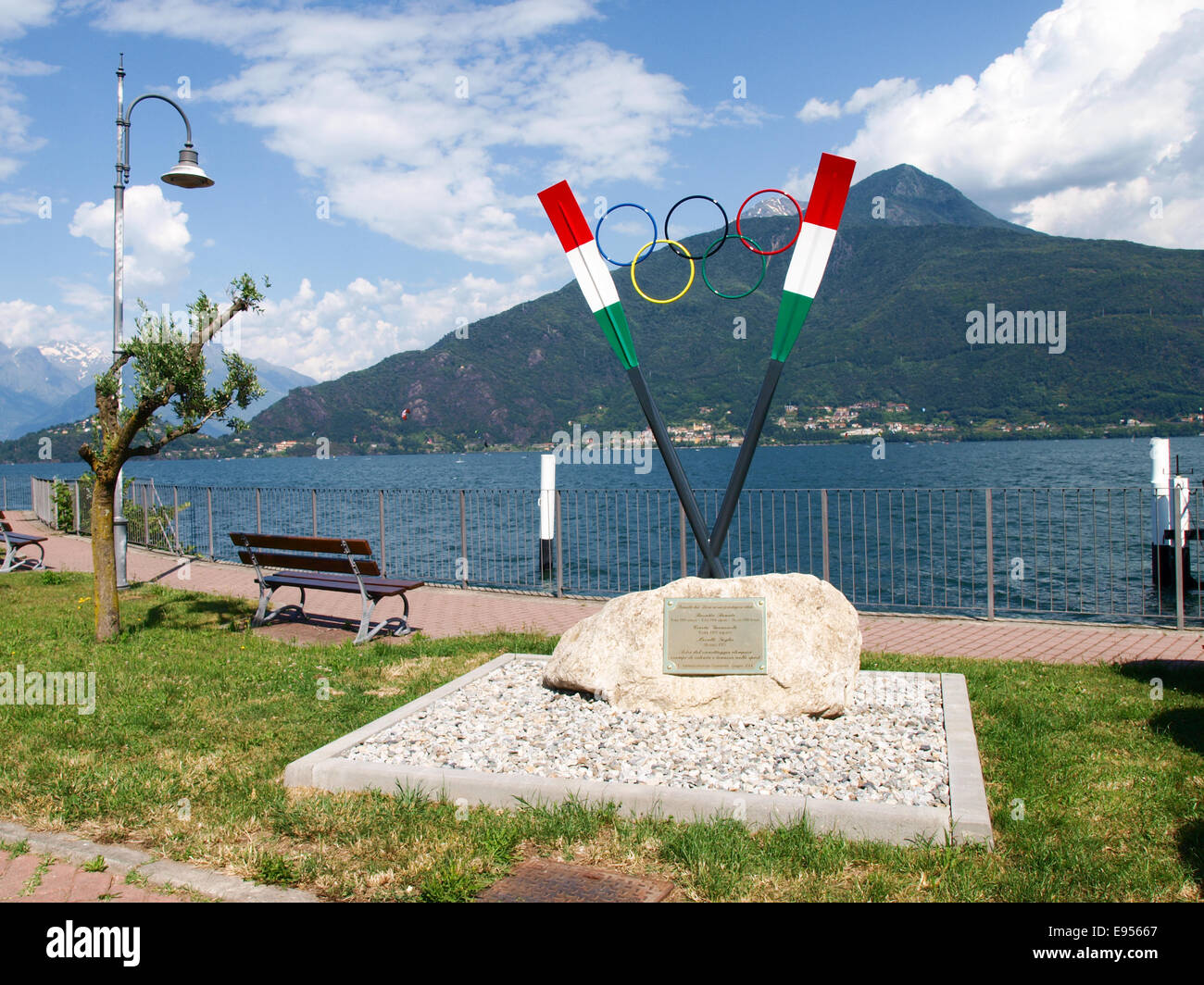 Pianello del Lario, Como, Italy - June 19, 2014: Memorial to Rosatta Renato, Giancarlo Crosta, Moralli Giglio, AthletesStock Photo