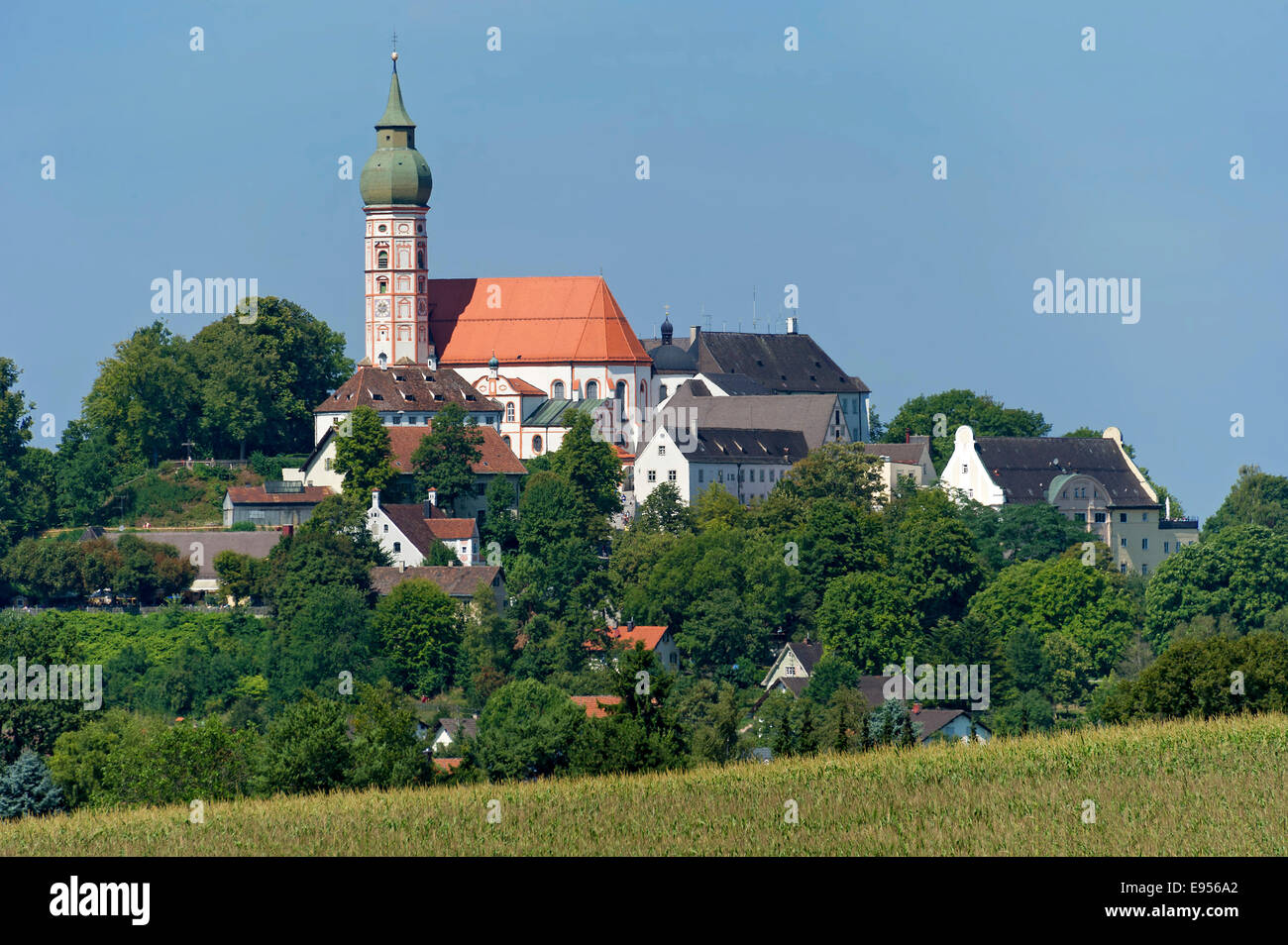 Klosterkirche Andechs monasterdy church, 'holy mountain' of Kloster Andechs, Oberbayern, Bavaria, Germany - Stock Image