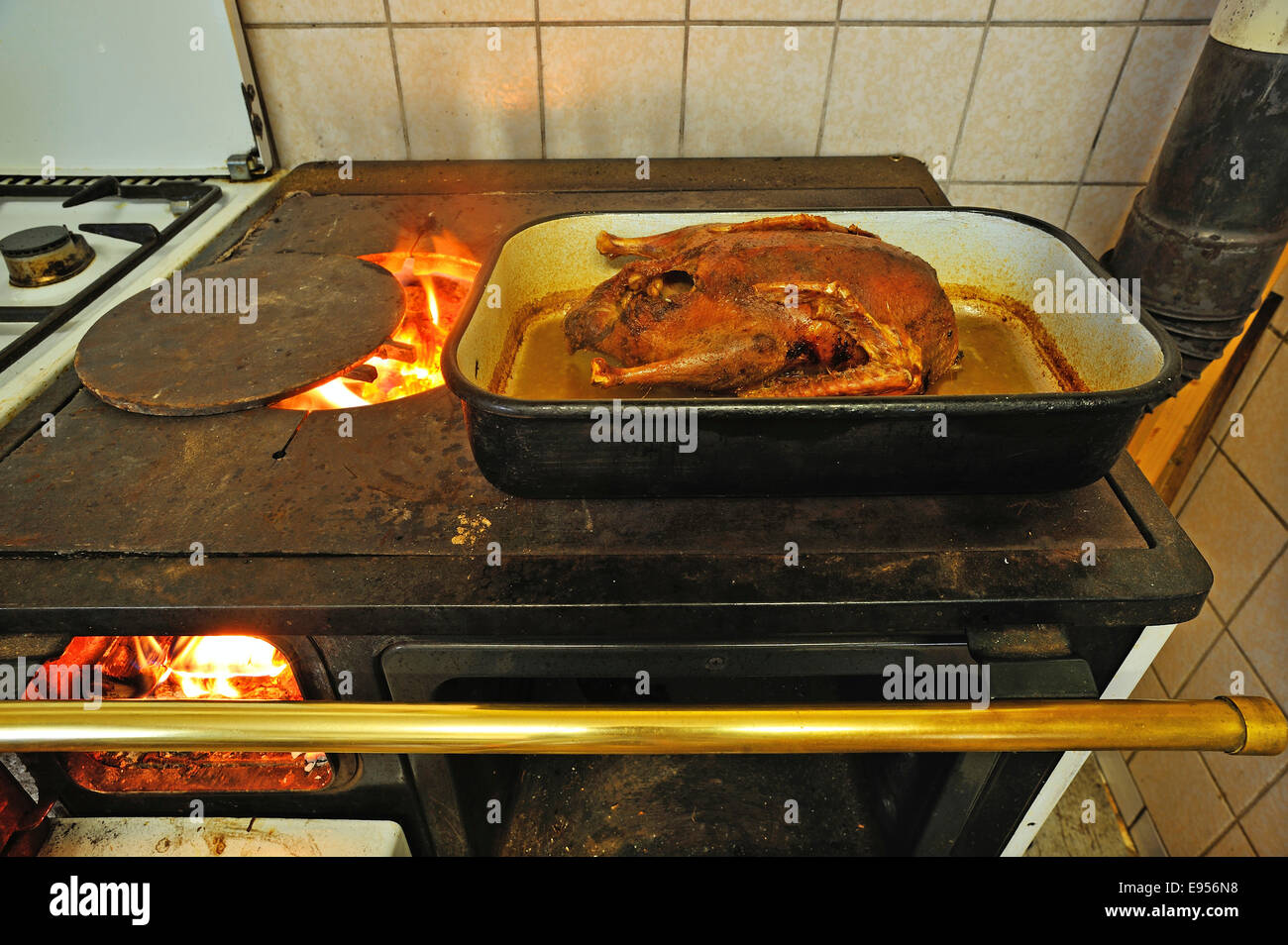 Ready roast duck in a roasting pan on an old coal-fired stove with open fire plate, Middle Franconia, Bavaria, Germany - Stock Image