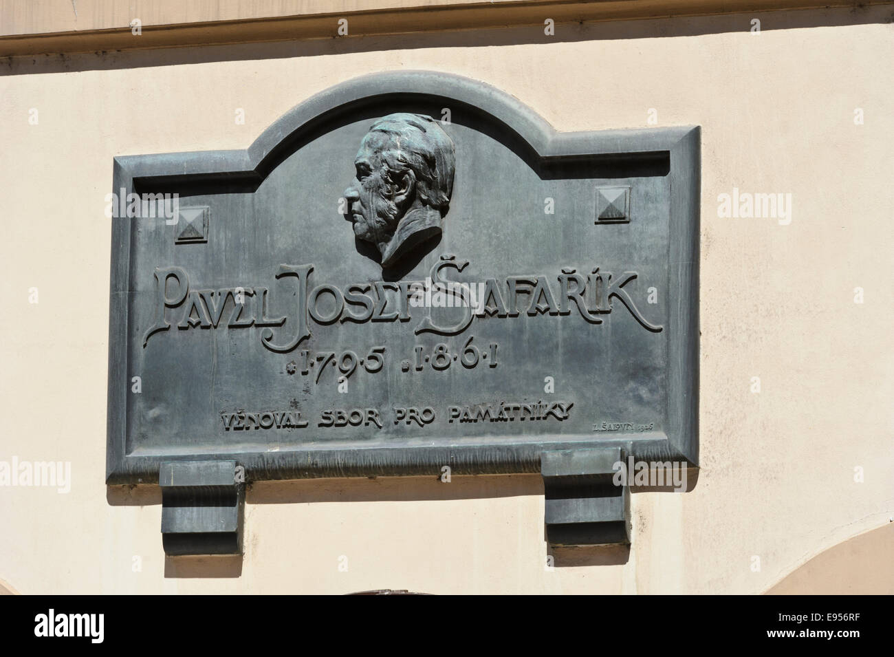 A commemorative plaque of Pavel Josef Safarik on the wall of a building in the City of Prague, Czech Republic. - Stock Image