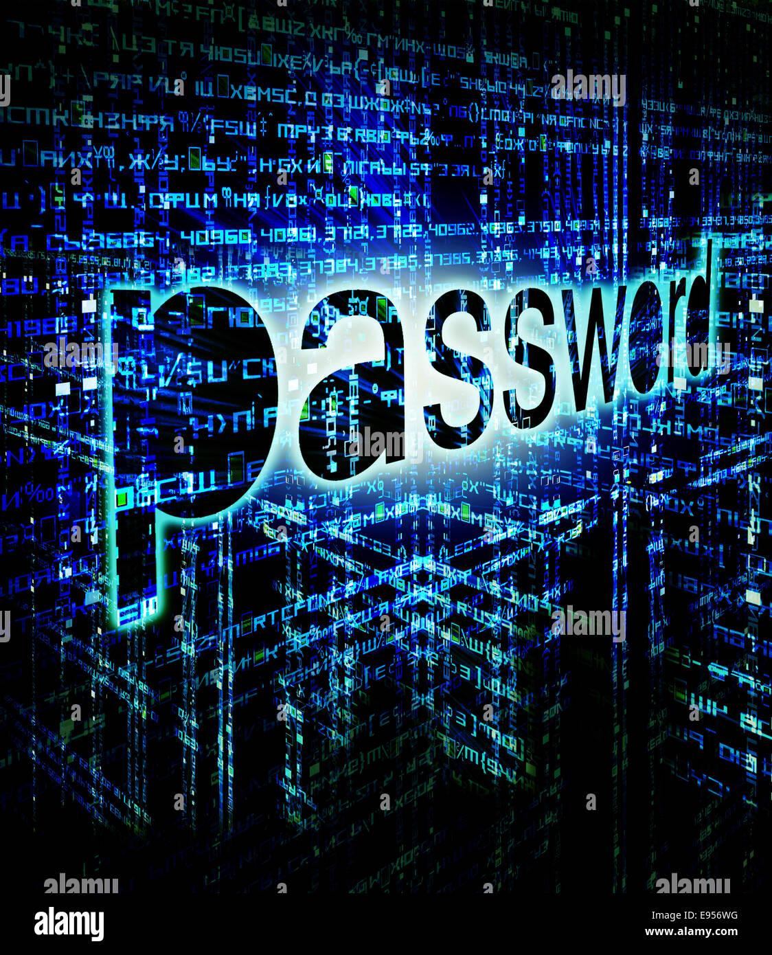 high quality password background digital illustration - Stock Image
