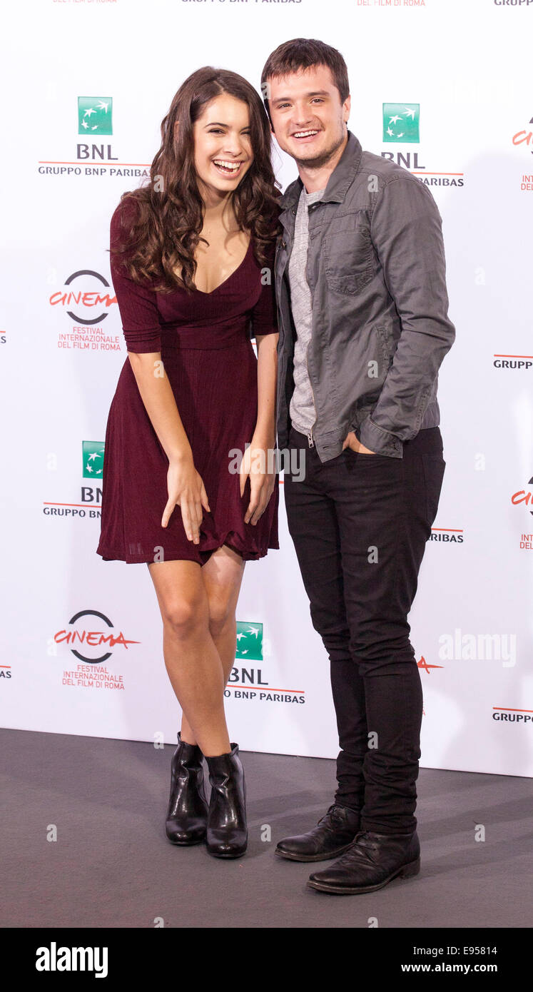 Claudia Traisac and Josh Hutcherson at a photocall for the