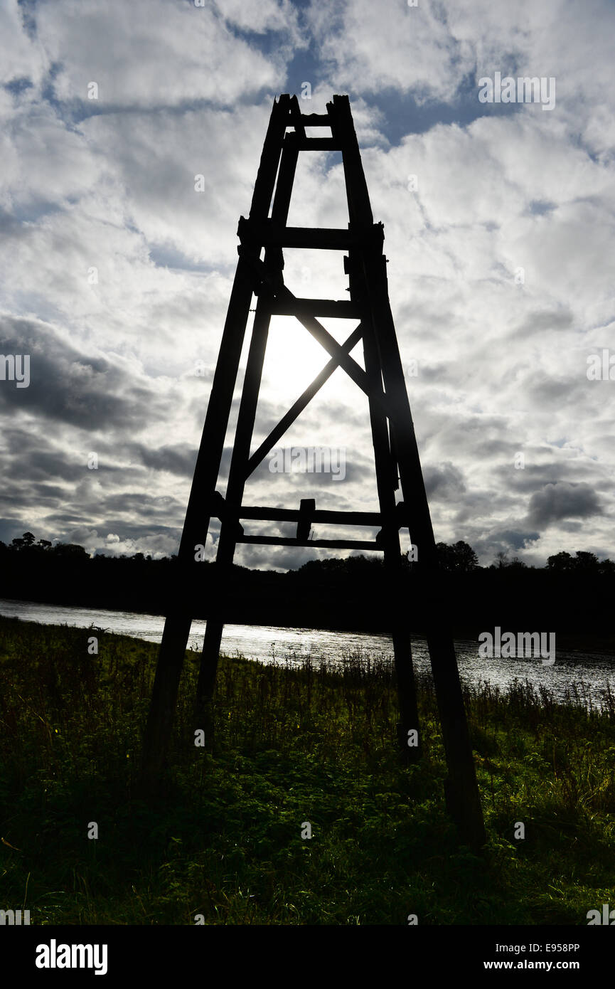 A fording tower on the River Tweed once used for watching for salmon - Stock Image