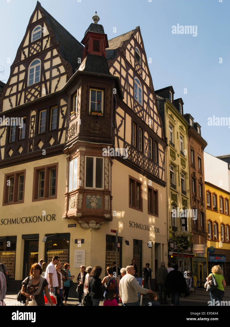 17c building  corner of Löhrstrasse and Altengraben, Koblenz Germany EU  one of the 'Four Towers', - Stock Image