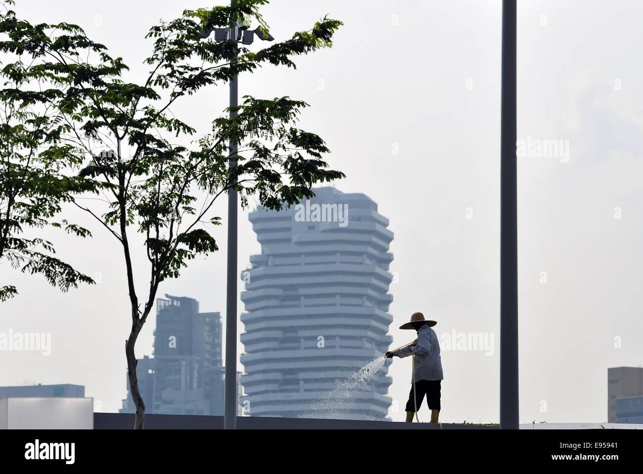Singapore. 20th Oct, 2014. A gardener works in haze in Singapore, Oct. 20, 2014. Singapore's 3-hour Pollution - Stock Image