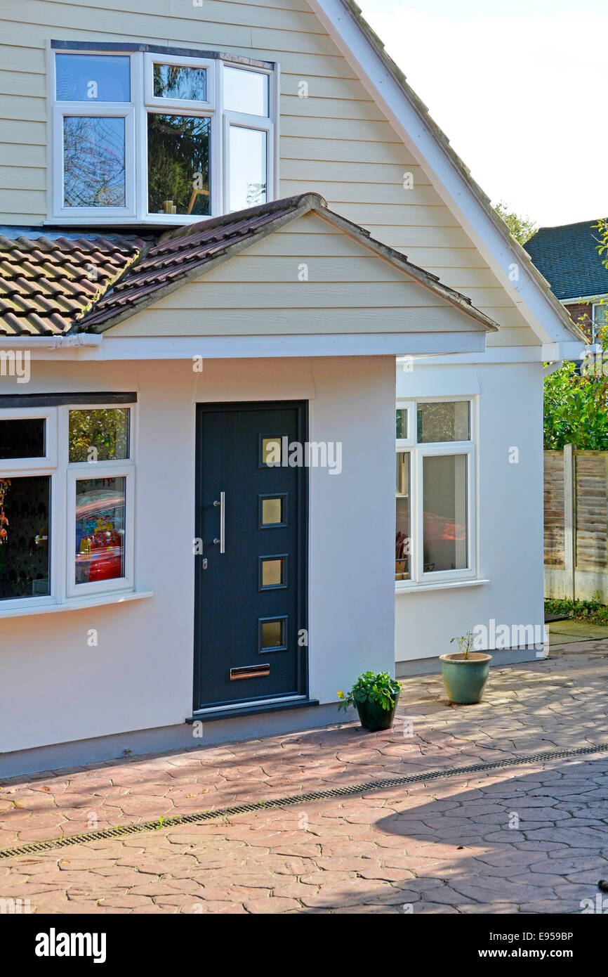 """Front door of renovated and enlarged property released detached house Brentwood Essex England UK see """"More Info"""" Stock Photo"""
