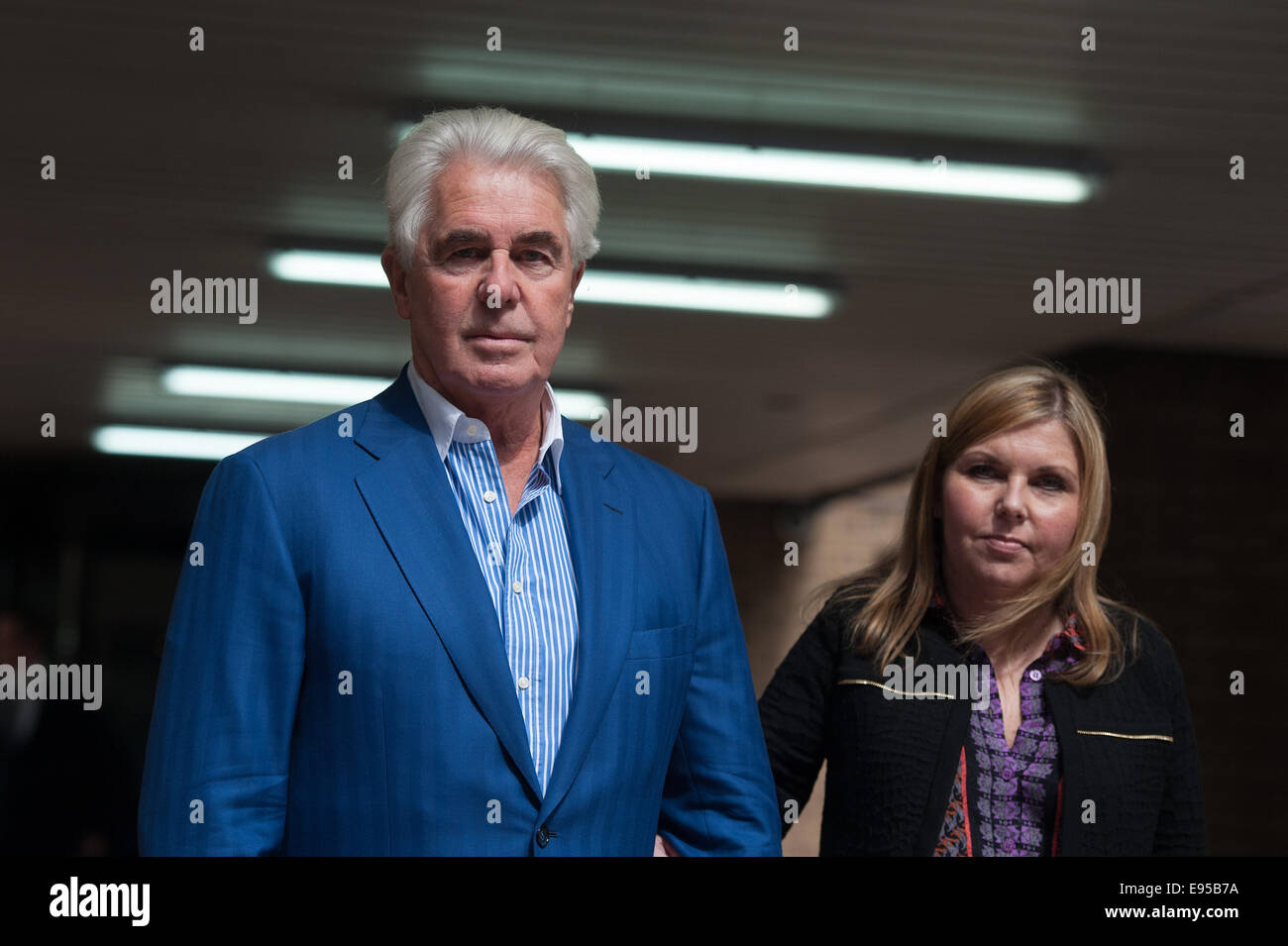 Publicist Max Clifford leaves Southwark Crown Court on the day when a verdict is possible in his trial. He is charged Stock Photo