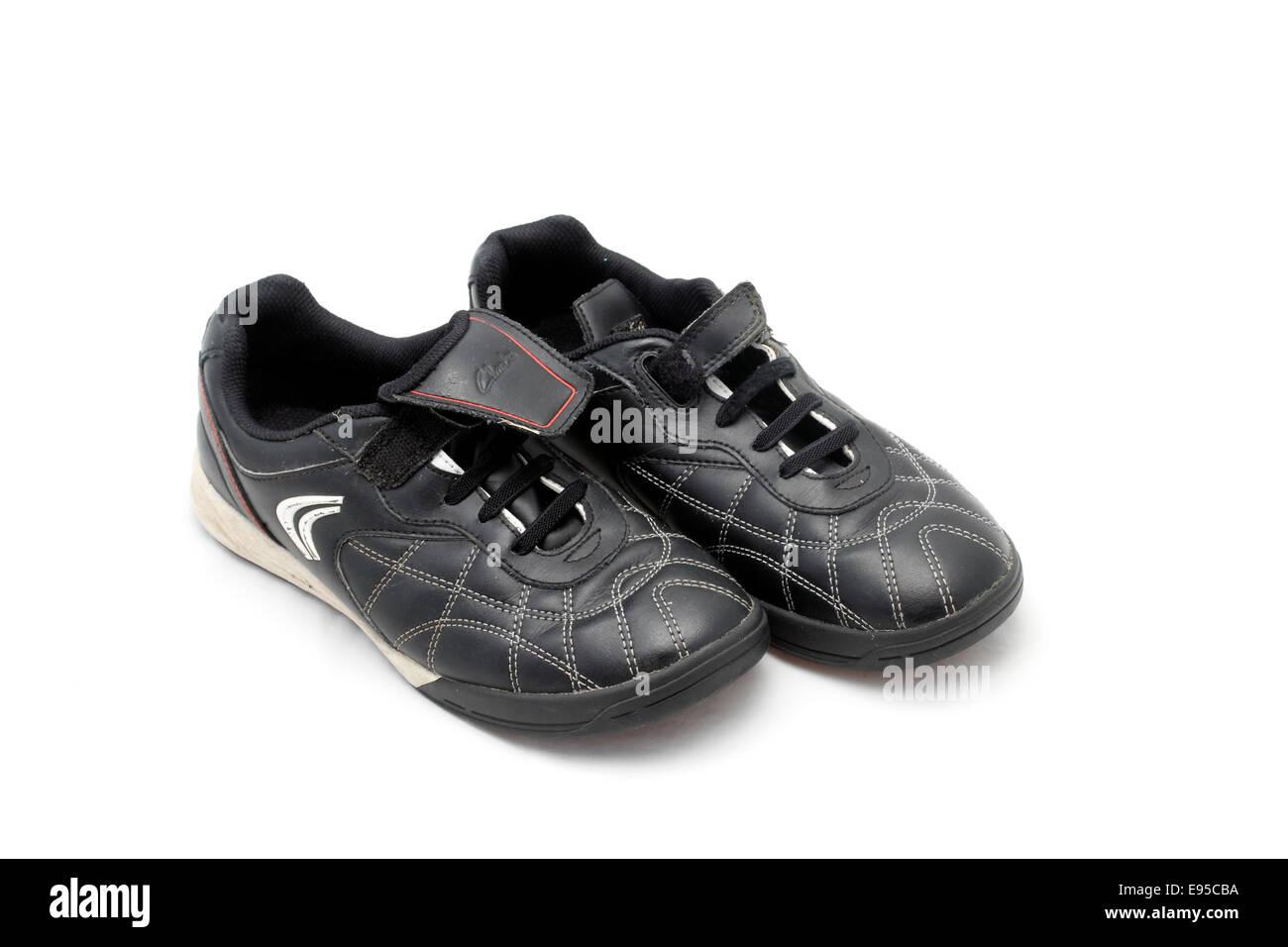 Clarks boys/girls non marking size 3 trainers black Velcro fasten - Stock Image